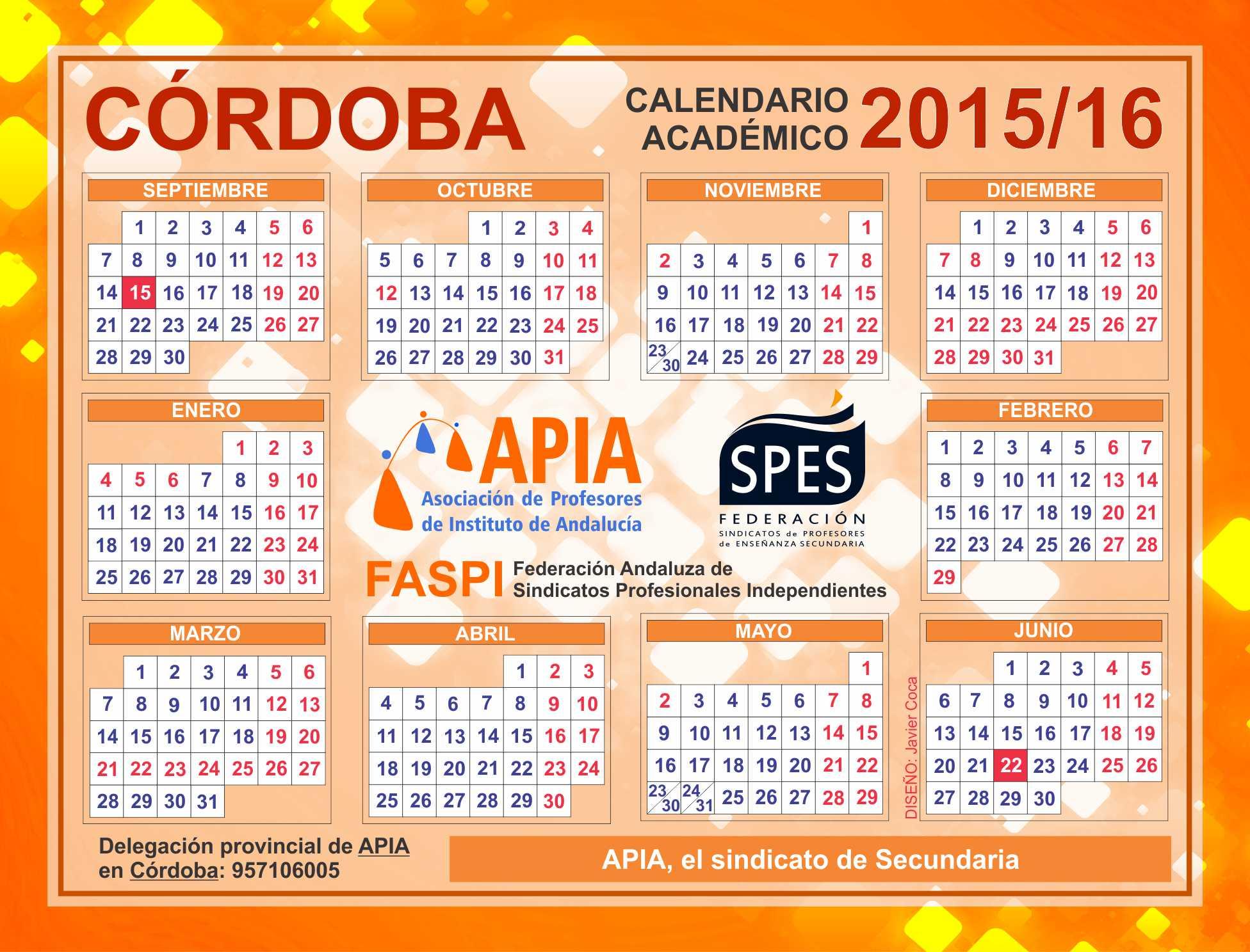 Calendario Escolar Huelva.Calendarios Escolares 2015 2016 Asociacion Apia