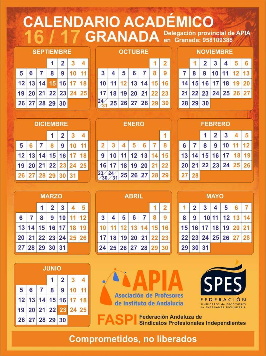 Calendario Escolar Huelva.Calendarios Escolares 2016 2017 Asociacion Apia