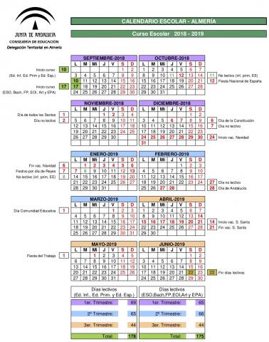 Calendario Laboral 2019 Andalucia.Calendarios Escolares 2018 2019 Asociacion Apia