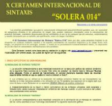 """X Certamen Internacional de Sintaxis """"Solera 014"""""""