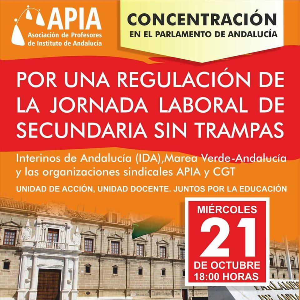 Concentración frente al Parlamento andaluz el 21 de octubre