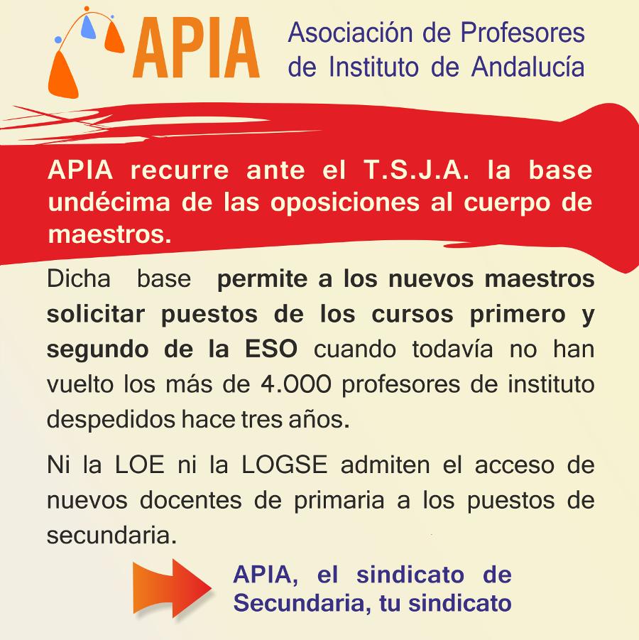 APIA recurre la base undécima de las oposiciones de maestros
